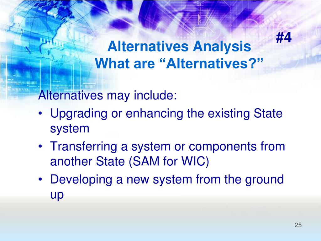 Alternatives may include: