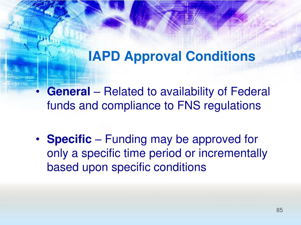 IAPD Approval Conditions