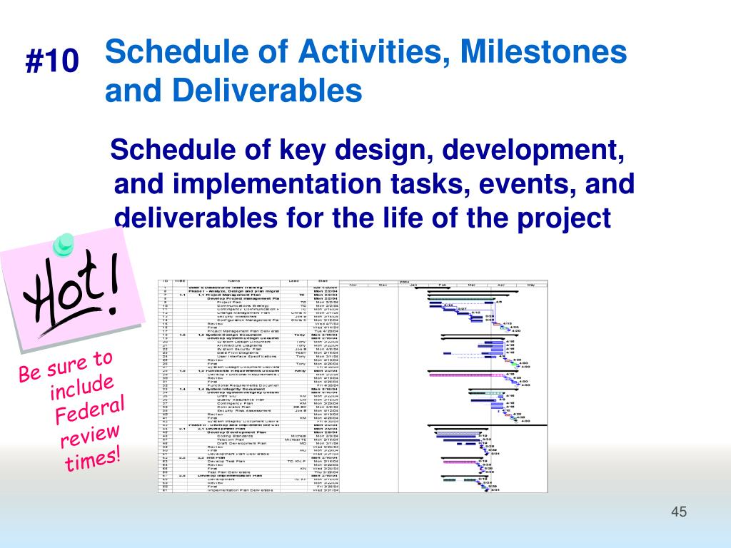 Schedule of key design, development, and implementation tasks, events, and deliverables for the life of the project