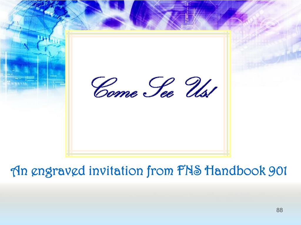 An engraved invitation from FNS Handbook 901