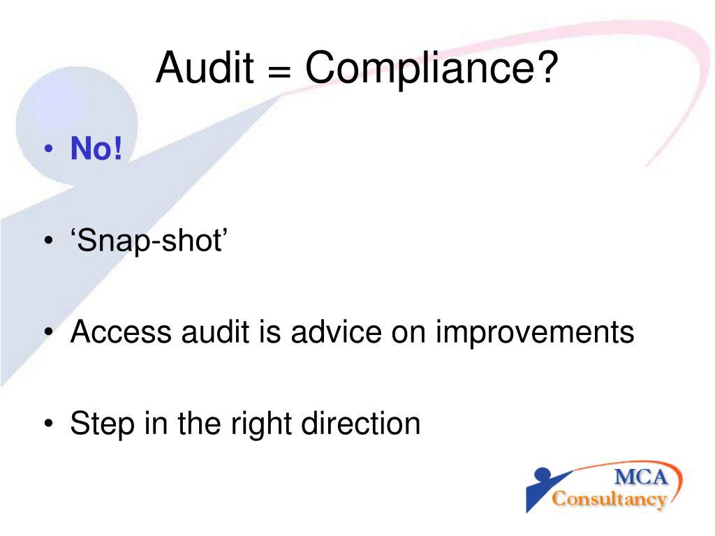 Audit = Compliance?