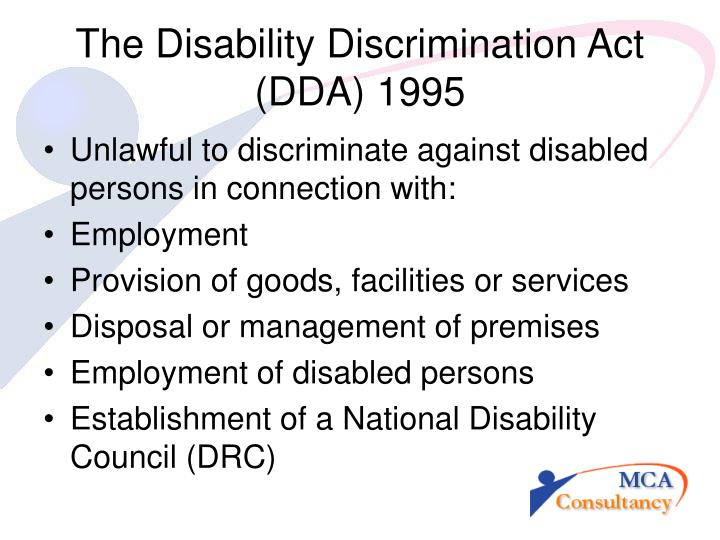 The disability discrimination act dda 1995
