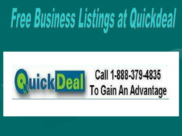 Free Business Listings at Quickdeal