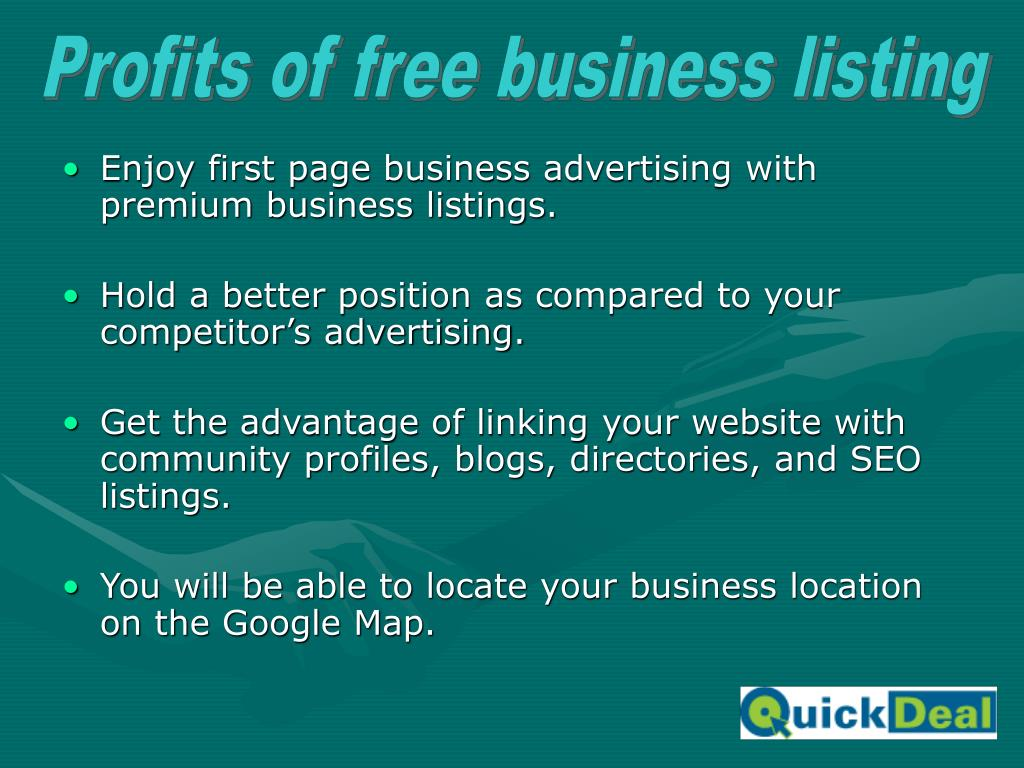 Profits of free business listing
