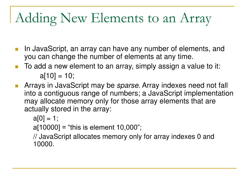 Adding New Elements to an Array