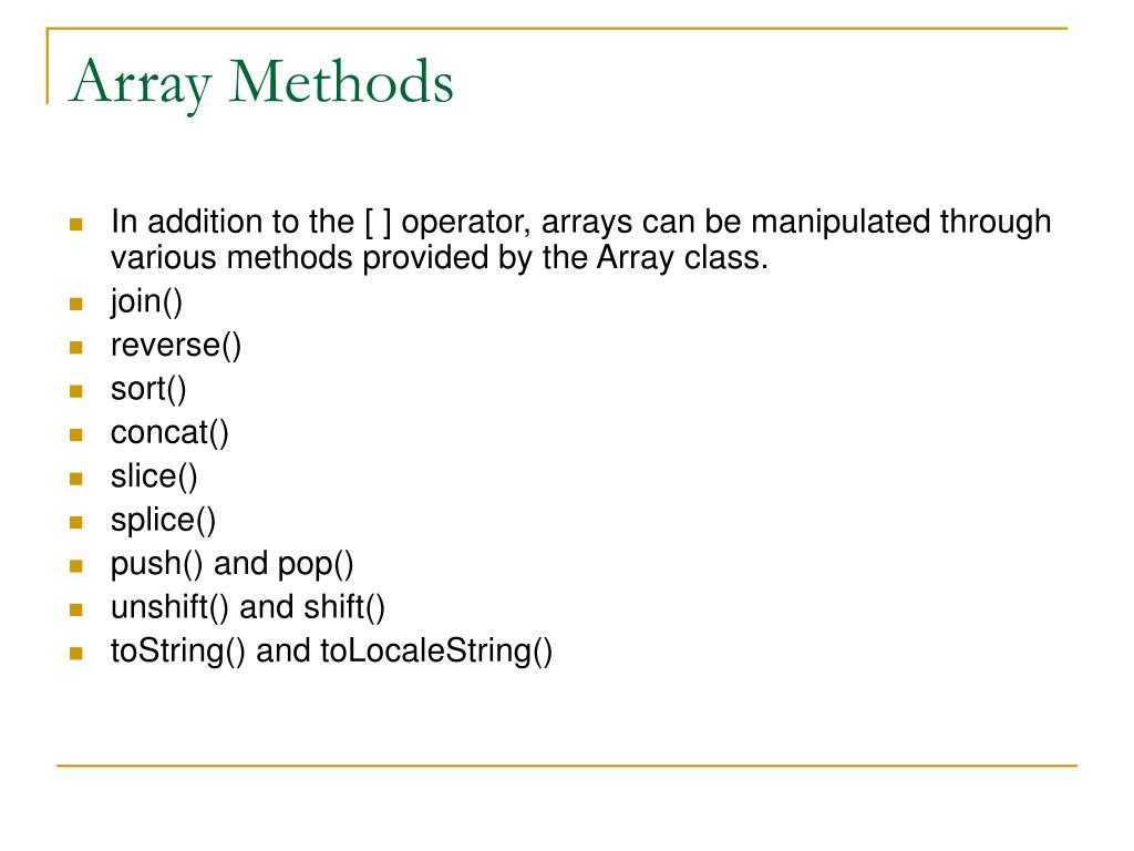Array Methods