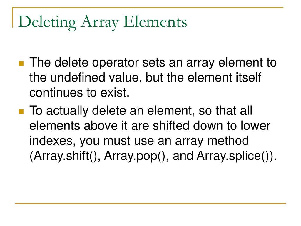 Deleting Array Elements