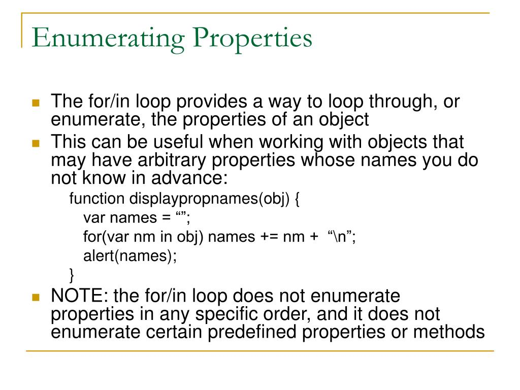 Enumerating Properties