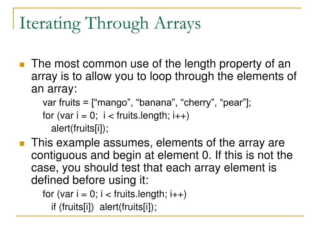 Iterating Through Arrays