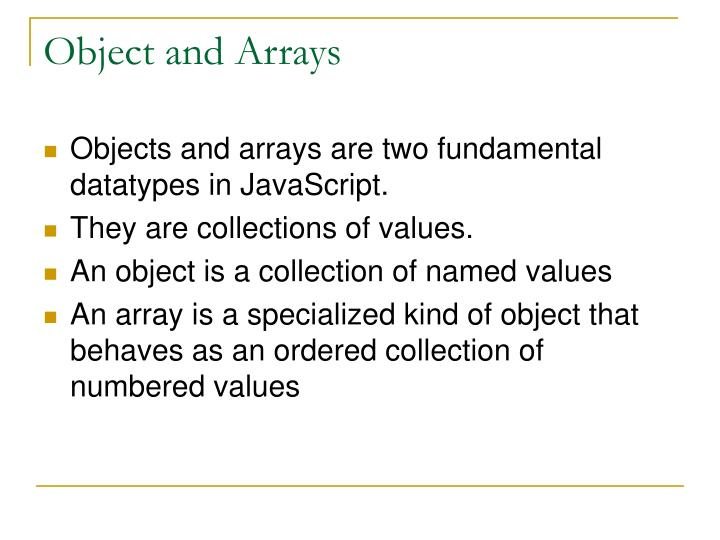 Object and arrays