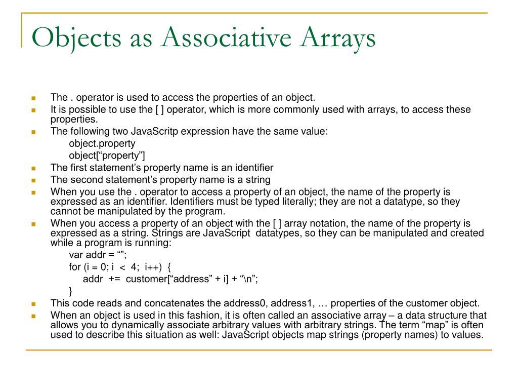 Objects as Associative Arrays