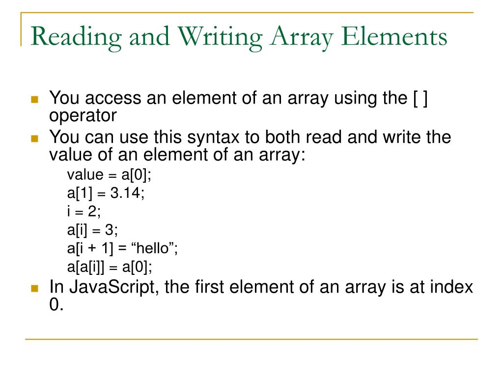 Reading and Writing Array Elements
