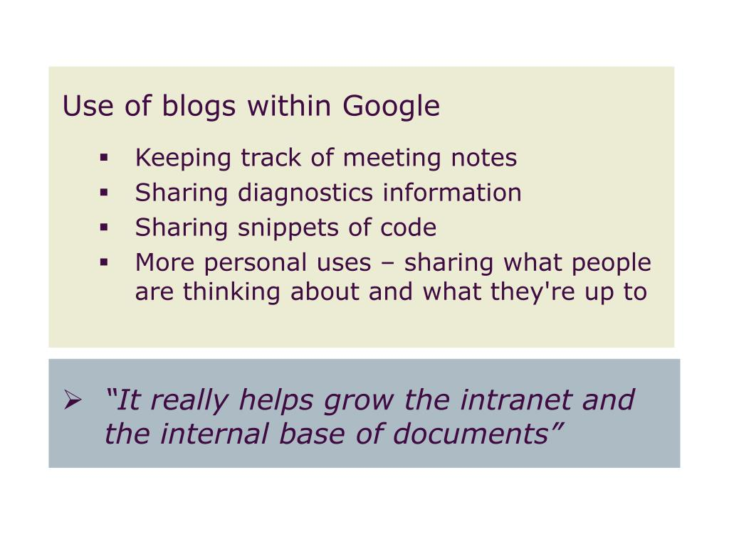 Use of blogs within Google
