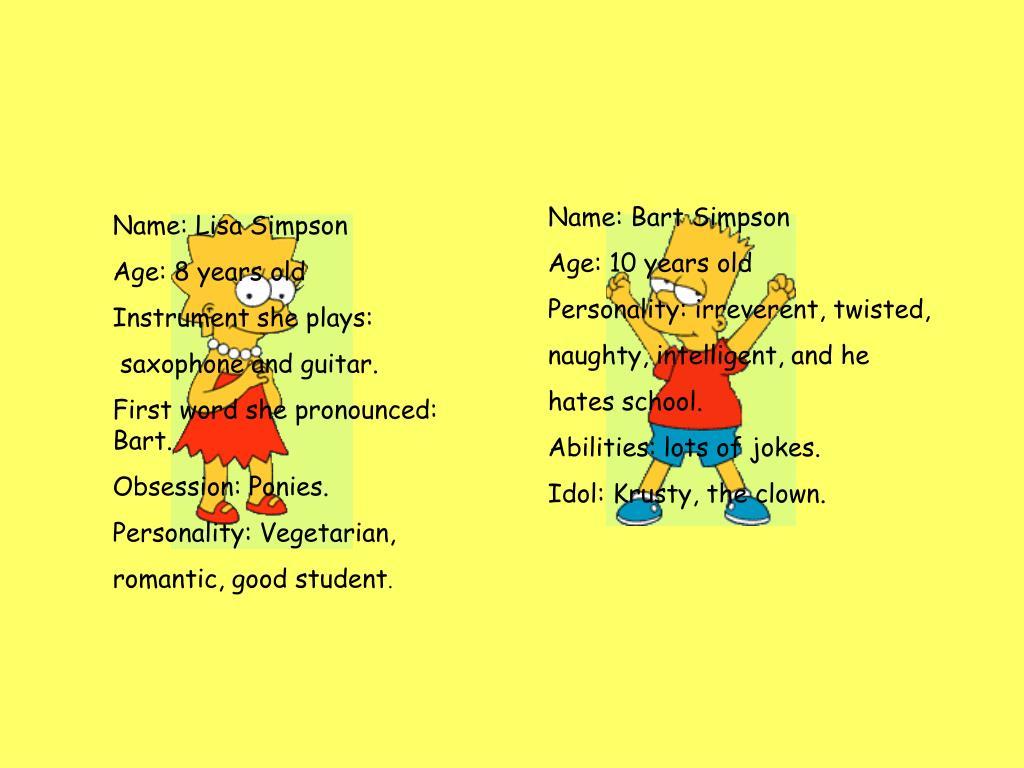 Name: Bart Simpson