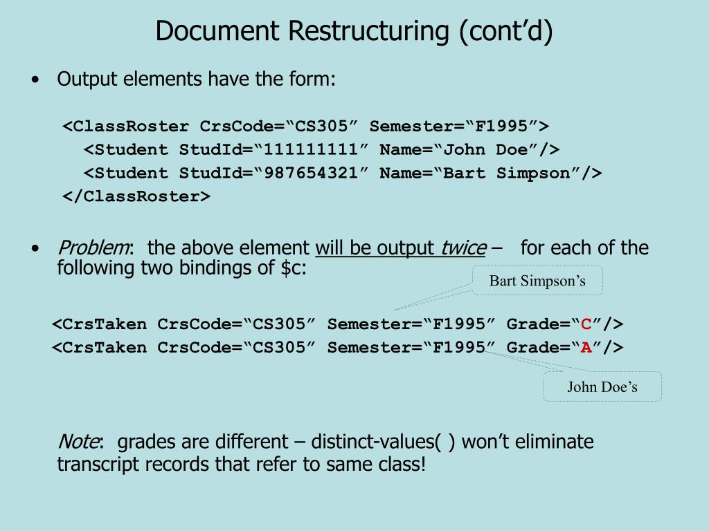 Document Restructuring (cont'd)