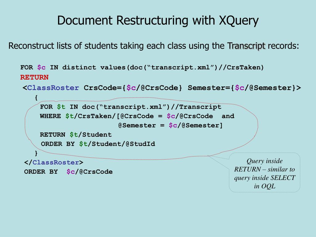 Document Restructuring with XQuery