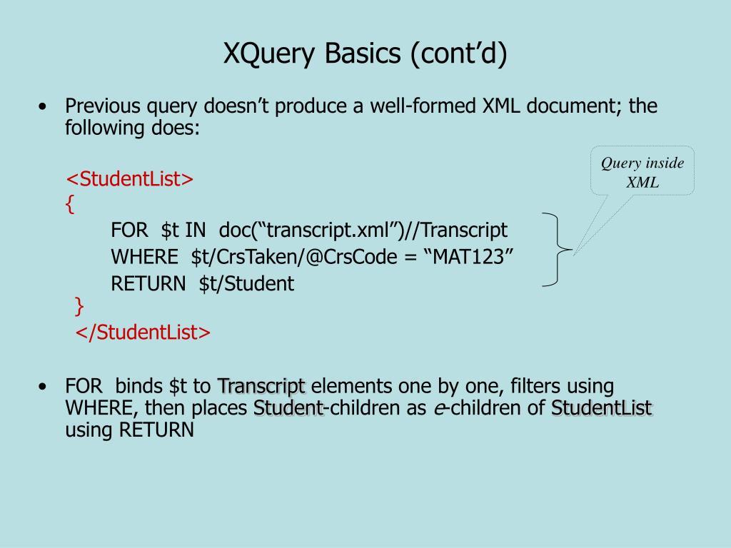 XQuery Basics (cont'd)