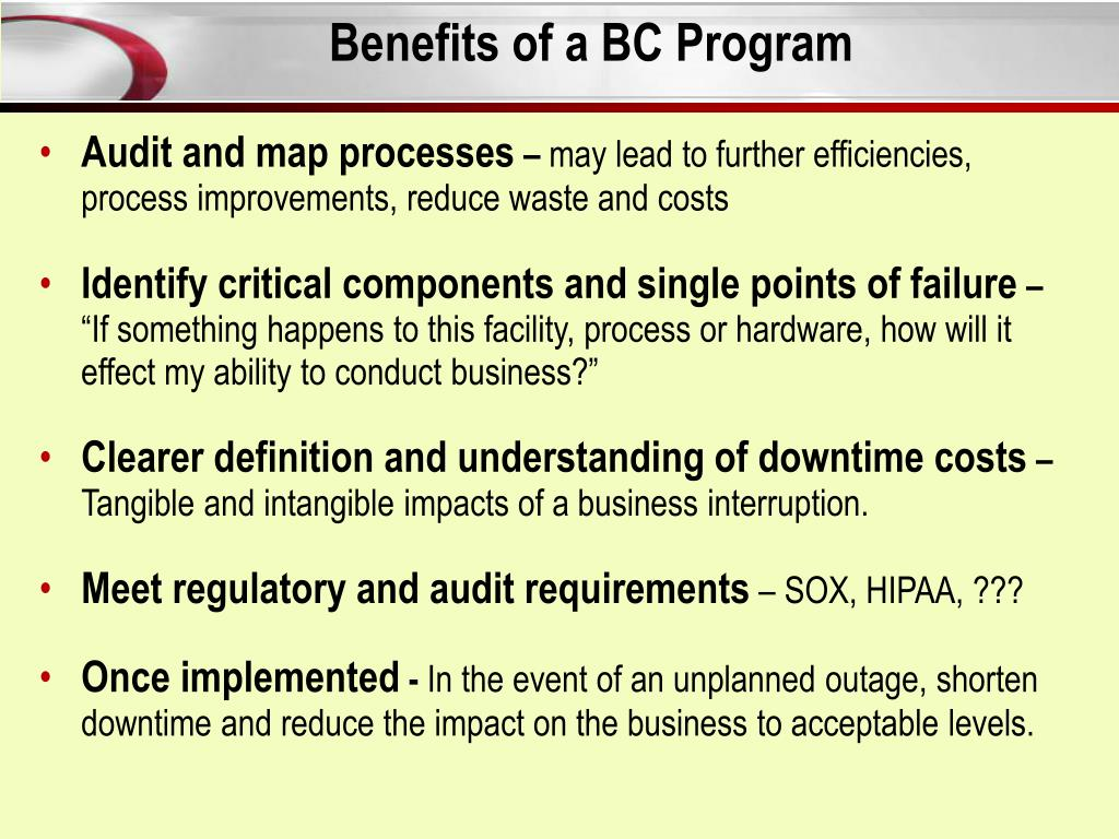 Benefits of a BC Program
