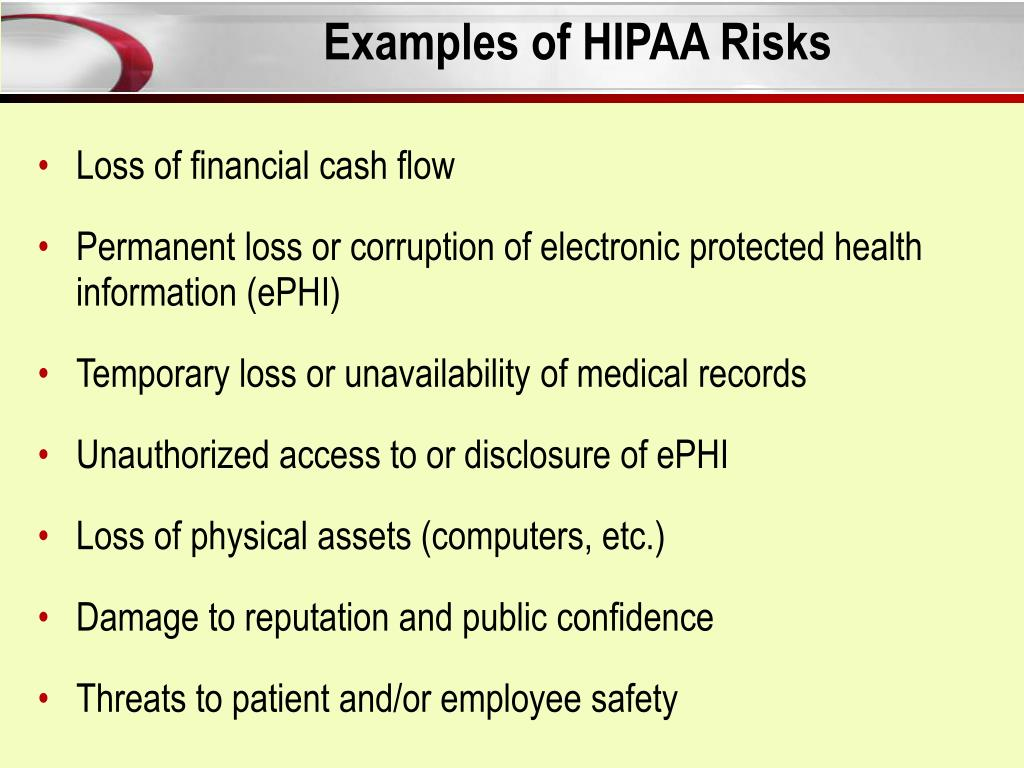 Examples of HIPAA Risks