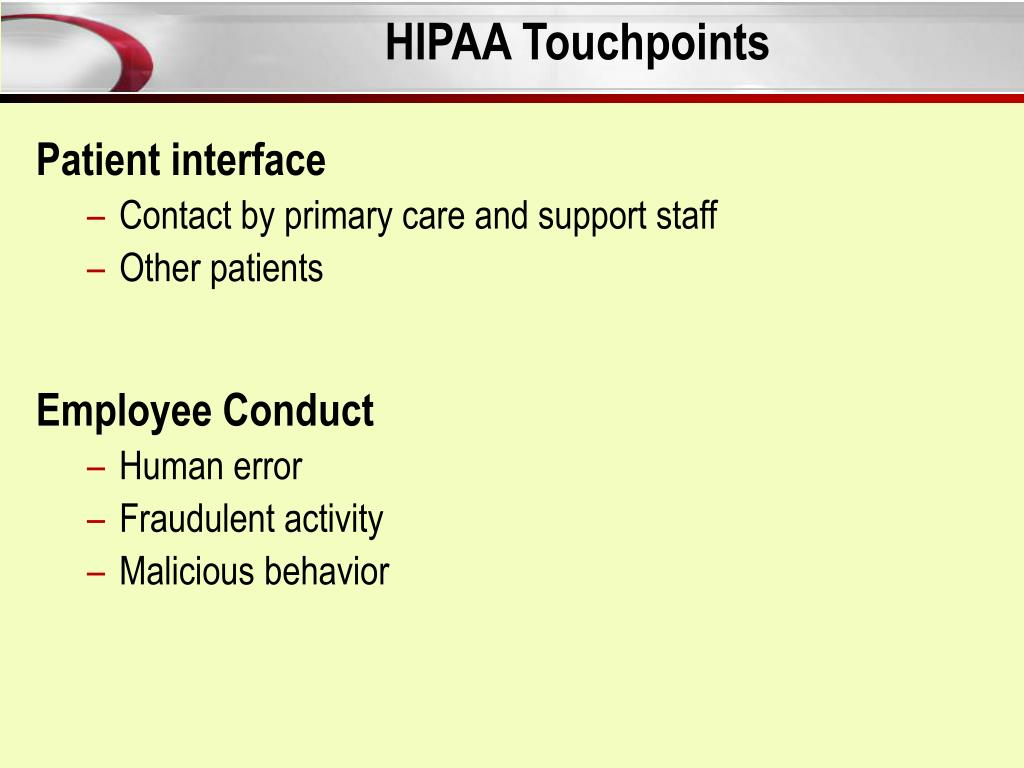 HIPAA Touchpoints
