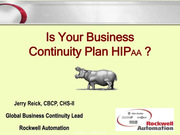 Jerry reick cbcp chs ii global business continuity lead rockwell automation