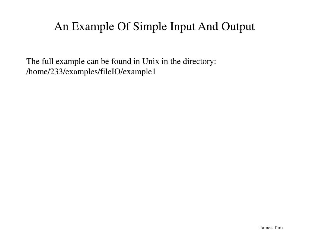An Example Of Simple Input And Output