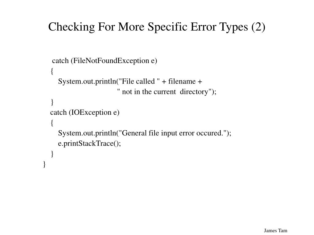Checking For More Specific Error Types (2)