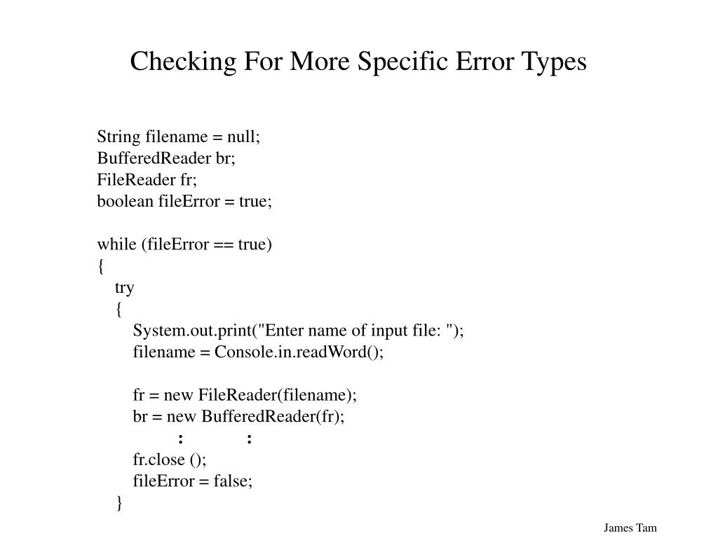 Checking For More Specific Error Types