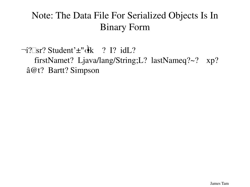 Note: The Data File For Serialized Objects Is In Binary Form