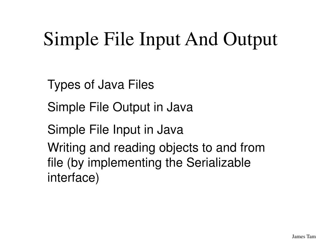 Simple File Input And Output