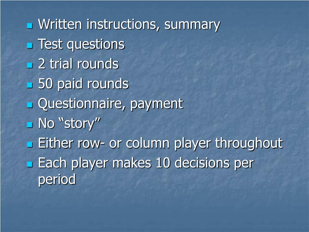Written instructions, summary