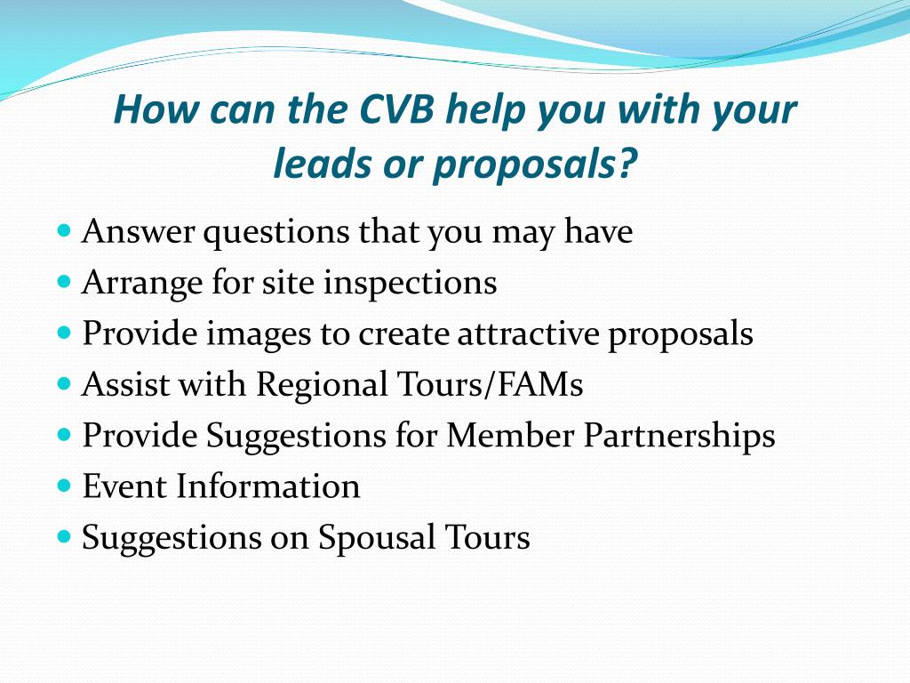 How can the CVB help you with your