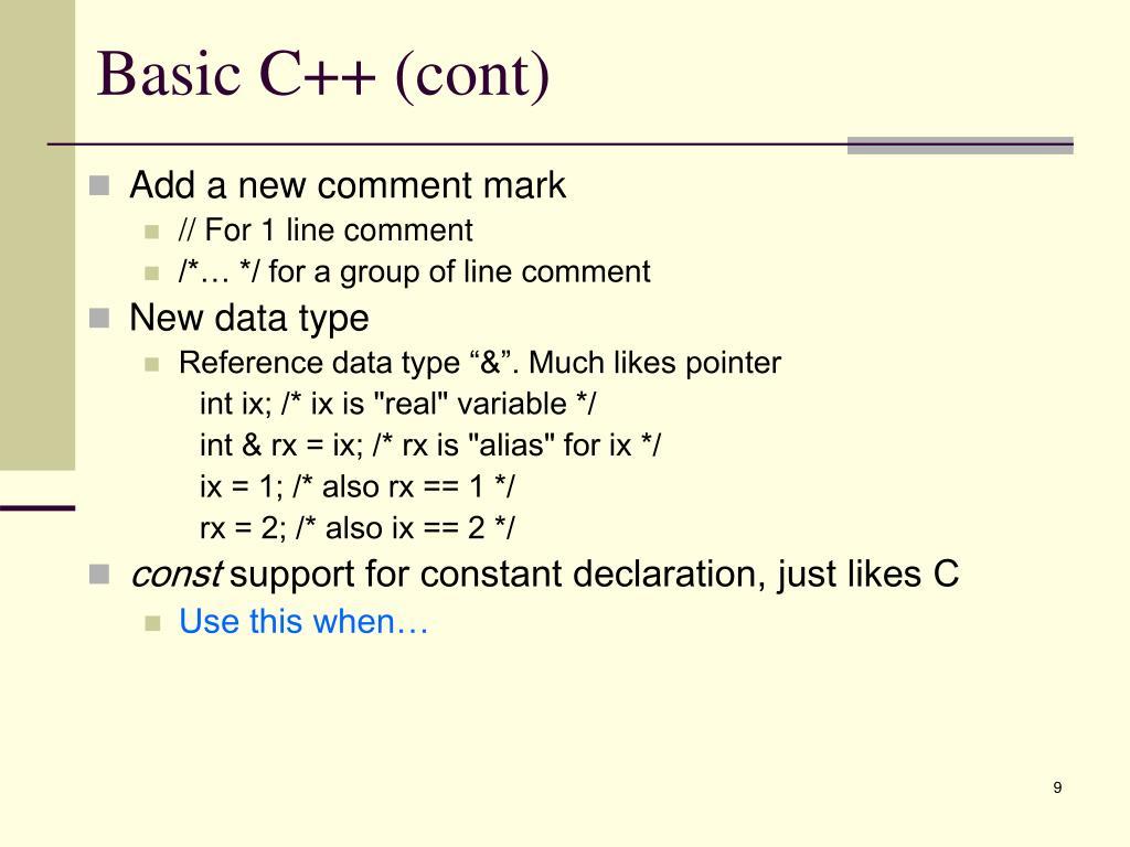 Basic C++ (cont)