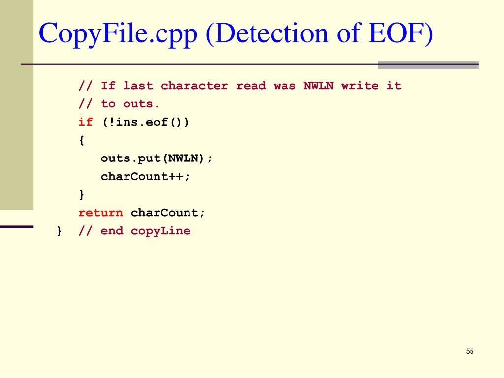 CopyFile.cpp (Detection of EOF)