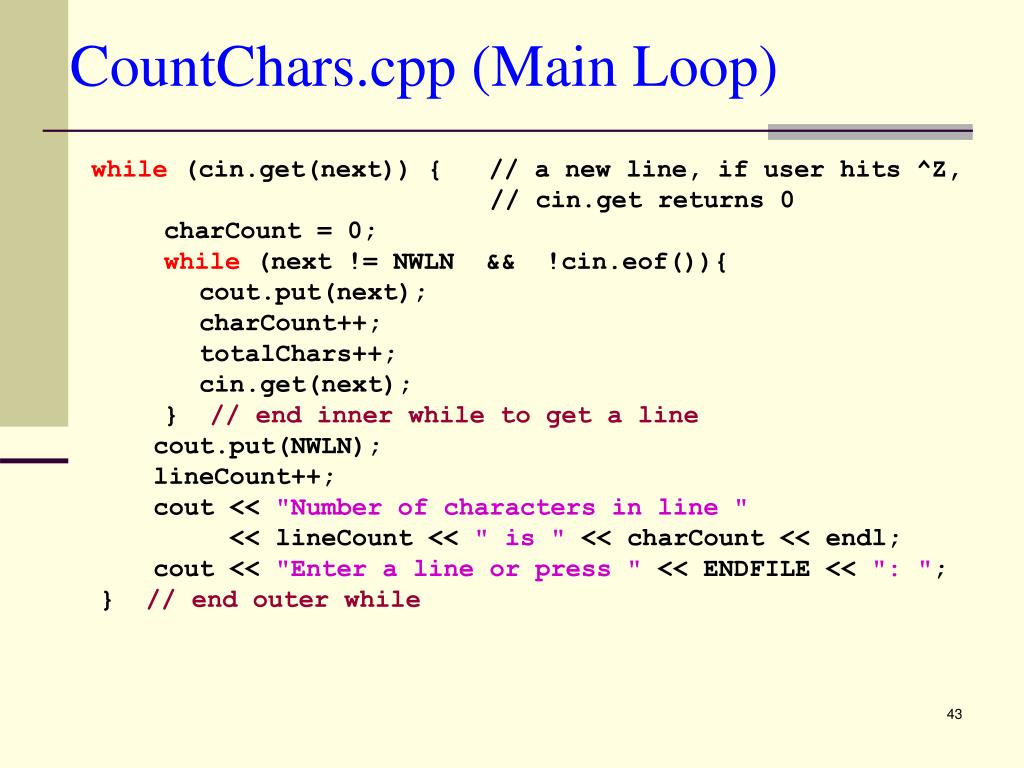 CountChars.cpp (Main Loop)