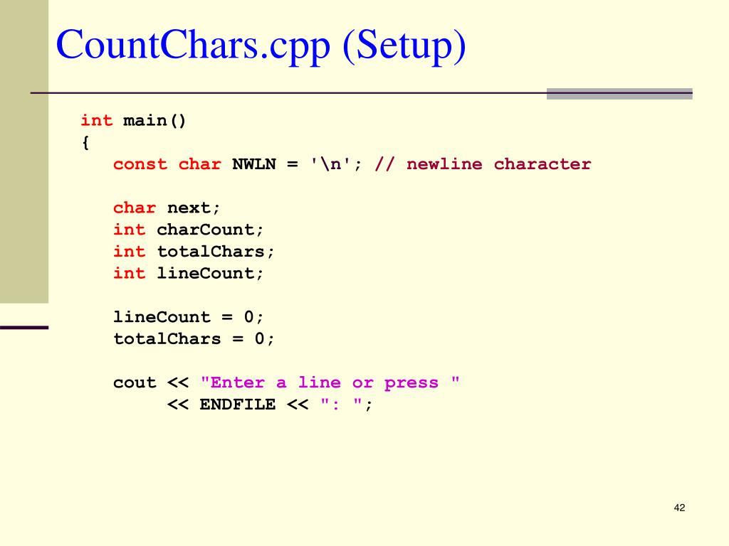 CountChars.cpp (Setup)