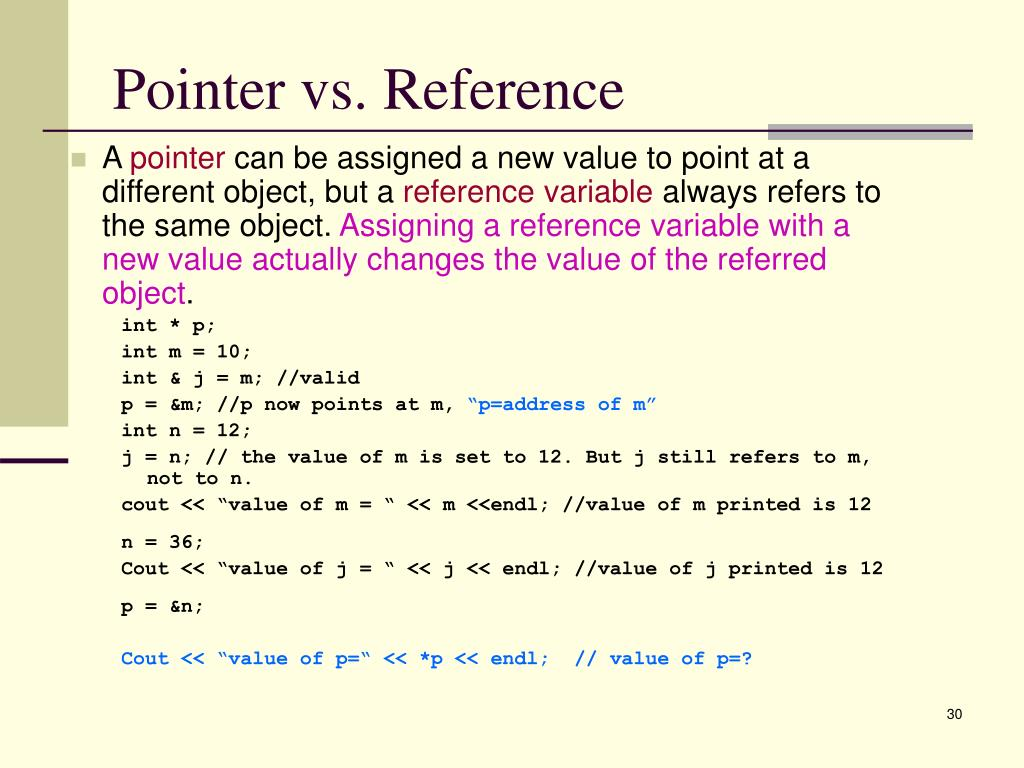 Pointer vs. Reference