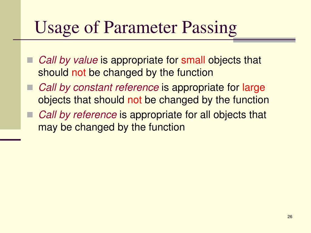 Usage of Parameter Passing