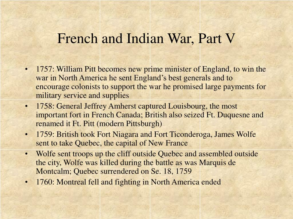French and Indian War, Part V