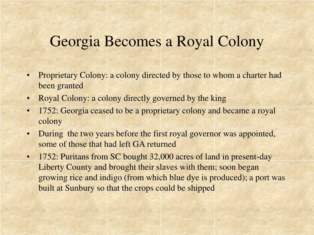 Georgia Becomes a Royal Colony