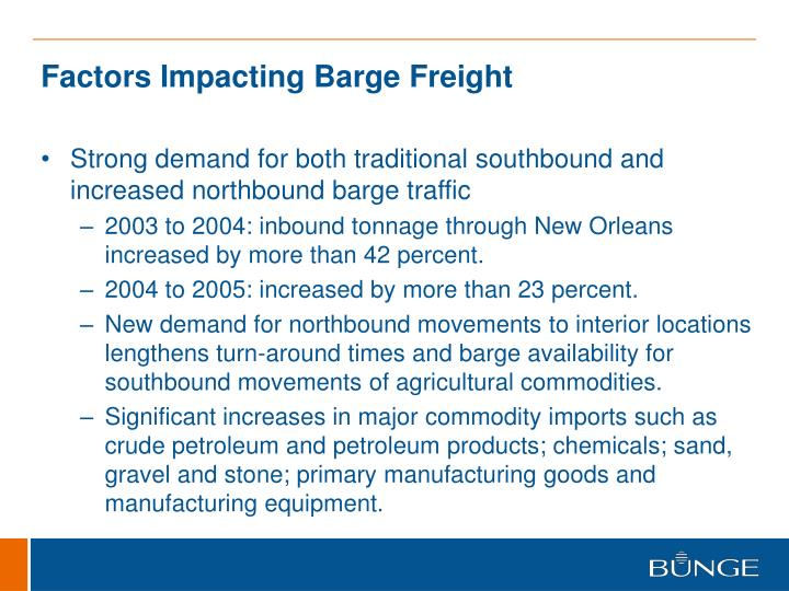 Factors Impacting Barge Freight