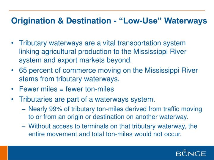 "Origination & Destination - ""Low-Use"" Waterways"