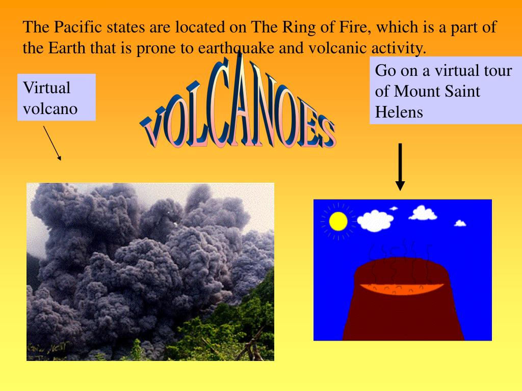 The Pacific states are located on The Ring of Fire, which is a part of the Earth that is prone to earthquake and volcanic activity.