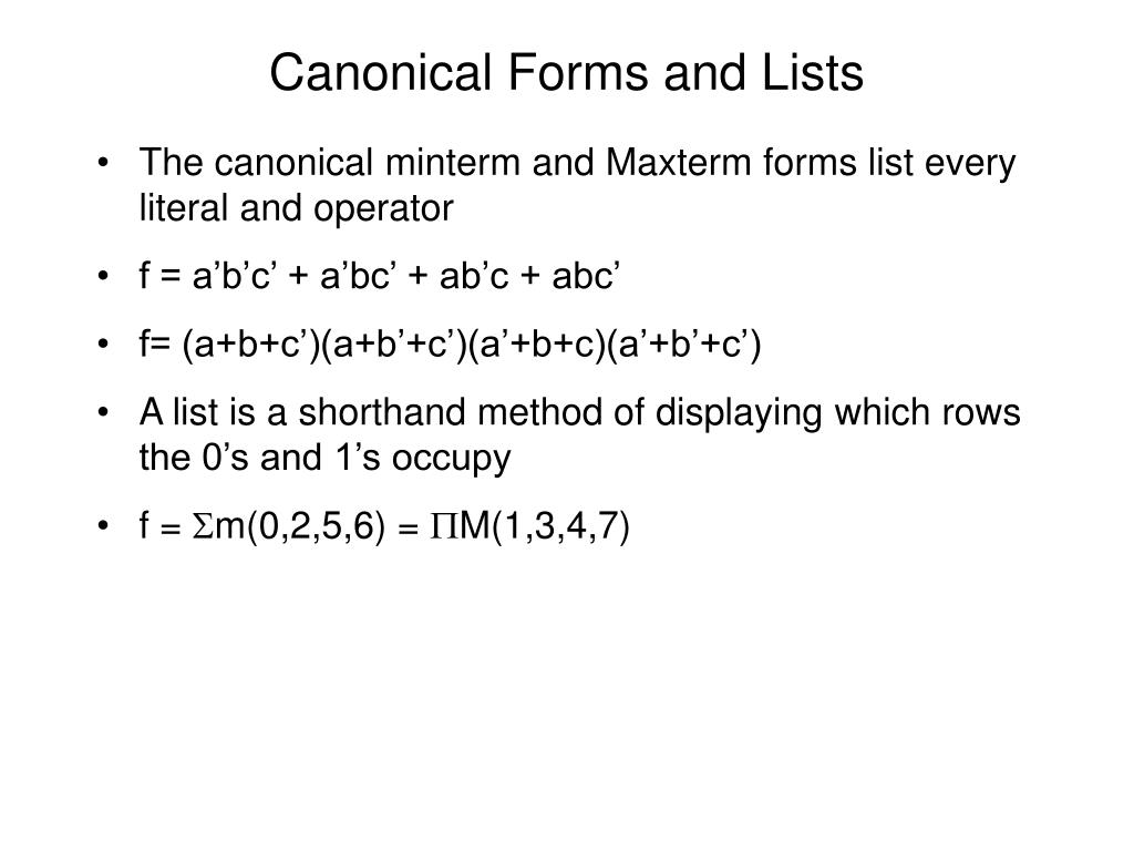 Canonical Forms and Lists