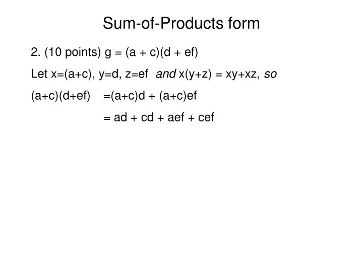 Sum of products form