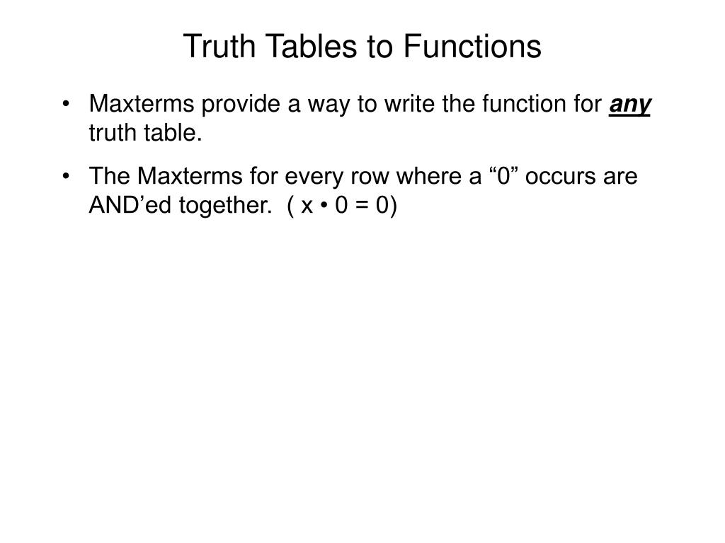 Truth Tables to Functions