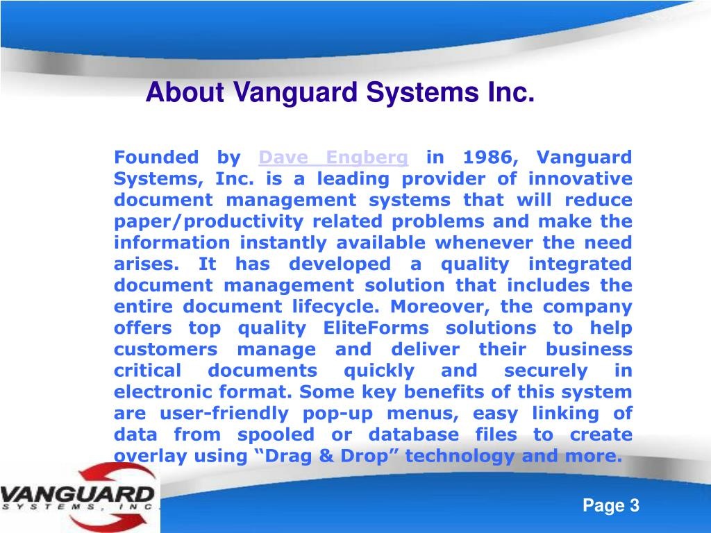 About Vanguard Systems Inc.