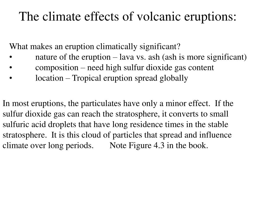 The climate effects of volcanic eruptions:
