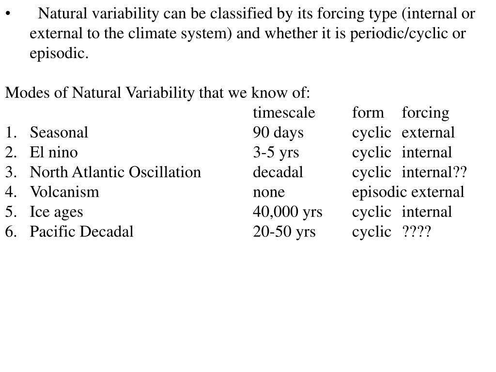 Natural variability can be classified by its forcing type (internal or external to the climate system) and whether it is periodic/cyclic or episodic.