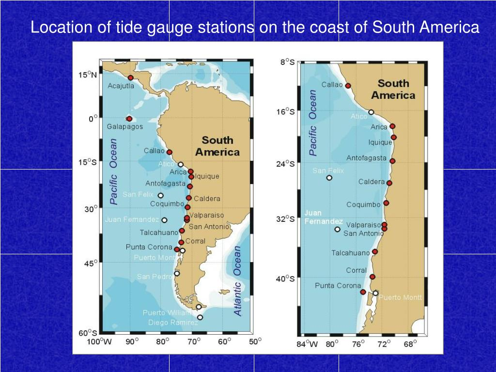 Location of tide gauge stations on the coast of South America